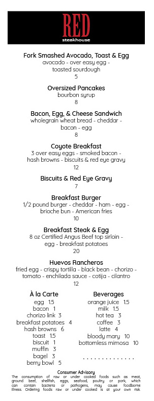 Breakfast Menu 2018