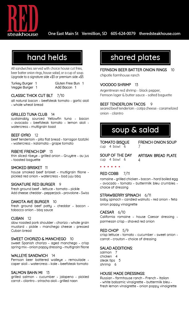 Lunch Menu Summer 2018