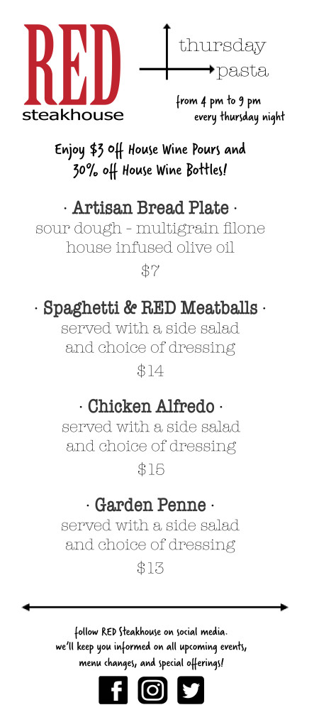 Pasta Night Menu