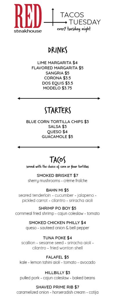 Tacos Tuesday Menu